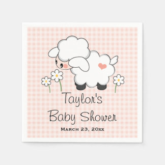 Pink Lamb Girl Baby Shower Disposable Napkins