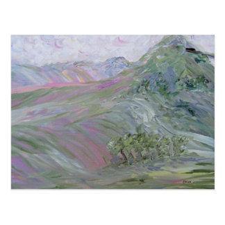 Pink Landscape Under a Pink Cloud Impressionist Postcard