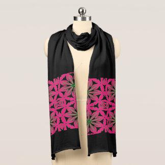 Pink Large Floral Black Jersey Scarf. Scarf