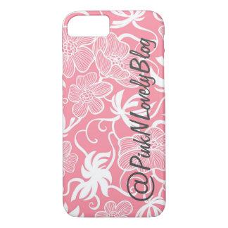 Pink Large Floral Social Media iPhone 7 Case