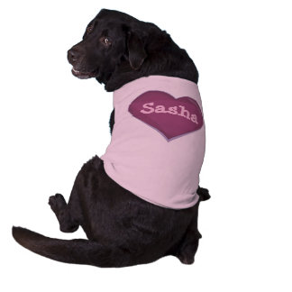 Pink large heart love dog pet shirt