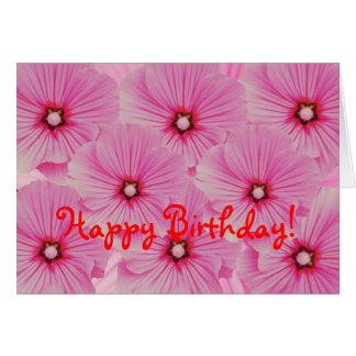 Pink Lavatera Birthday Card