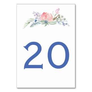 Pink Lavender Blue Watercolor Flowers Table Cards