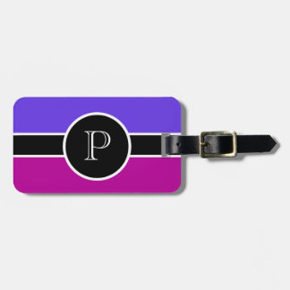 Pink Lavender  Monogram Initial Modern Chic Travel Luggage Tag