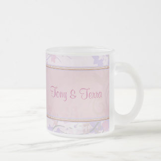Pink & Lavender Pastel Floral Flowers 10 Oz Frosted Glass Coffee Mug