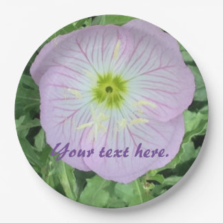 Pink Lavender Primrose Flower Your Text Plates 9 Inch Paper Plate