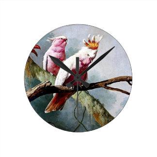 Pink Leadbeater Parrot birds painting Wall Clock