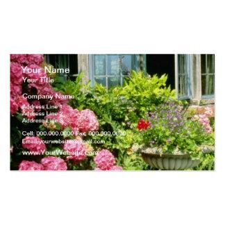 Pink Leaded Window Hydrangea macrophylla Urn Wit Business Card Template