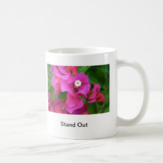 Pink Leafs and White flower, Stand Out Classic White Coffee Mug