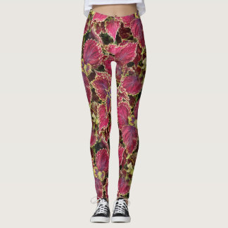 Pink Leaves Leggings