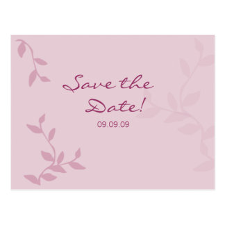 Pink Leaves Save the Date Postcard