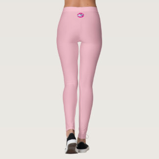 Pink Leggings with White Lily Emblem