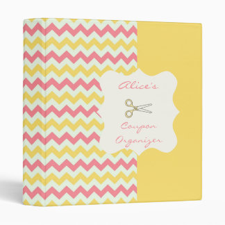 Pink Lemon Chevron Personalized Coupon Organizer 3 Ring Binder