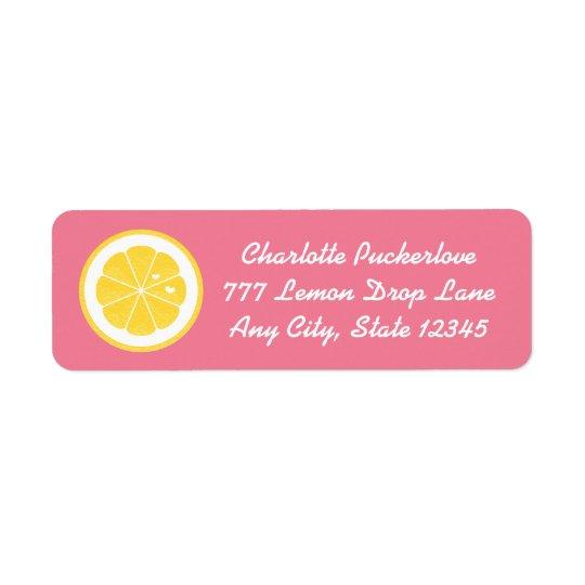Pink Lemon Heart Return Address Labels Stickers