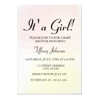Pink Lemon Pastel Ombre its A Girl Baby Shower Card