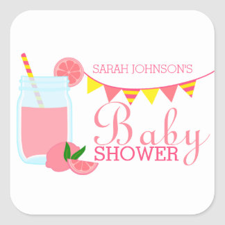Pink Lemonade Baby Shower Square Sticker