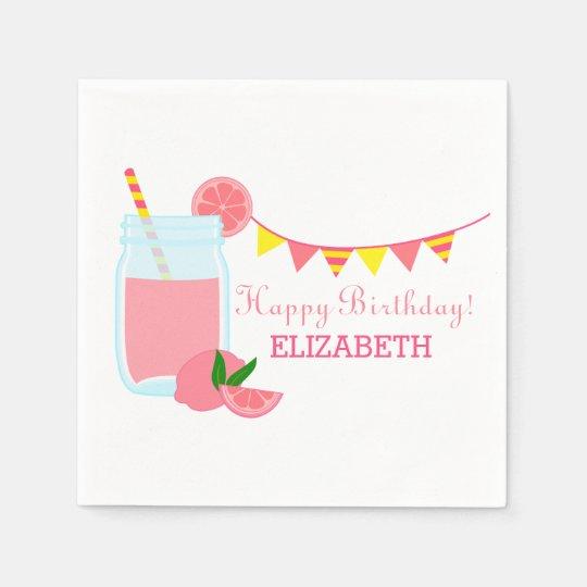 Pink Lemonade Birthday Party Disposable Napkin