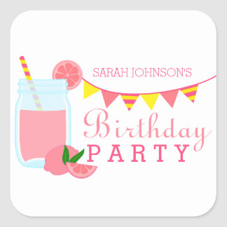Pink Lemonade Birthday Party Square Sticker