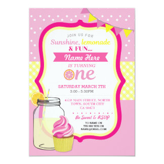 Pink Lemonade First 1st One Birthday Party Invite