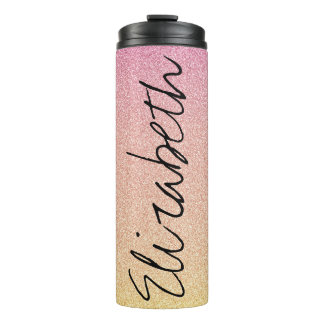Pink Lemonade Glitter Ombre Thermal Tumbler