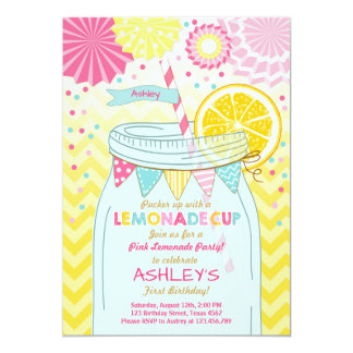 Pink lemonade Invitation Sunshine First Birthday
