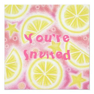 "Pink Lemonade lemons invitation square 5.25"" Square Invitation Card"