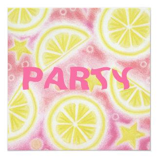 "Pink Lemonade 'lemons' party invitation square 5.25"" Square Invitation Card"