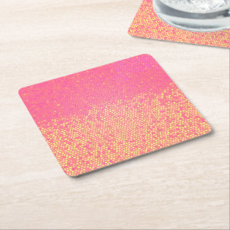 Pink Lemonade Ombre Square Paper Coaster