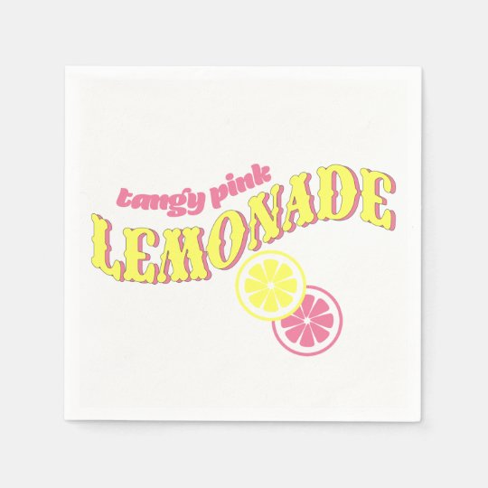 Pink Lemonade Party, Pink and Yellow Disposable Napkin