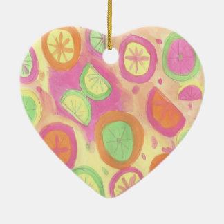 Pink Lemonade Pattern Ceramic Ornament