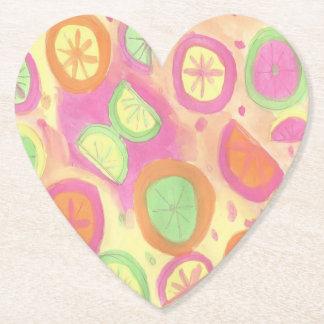 Pink Lemonade Pattern Paper Coaster
