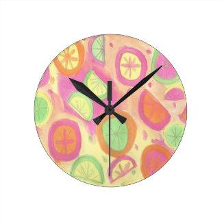 Pink Lemonade Pattern Round Clock