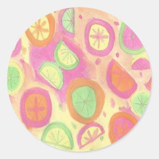 Pink Lemonade Pattern Round Sticker