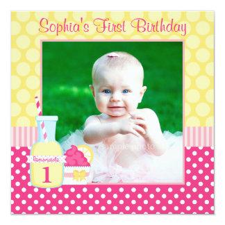 "Pink Lemonade Polka Dot 1st Birthday Photo 5.25"" Square Invitation Card"