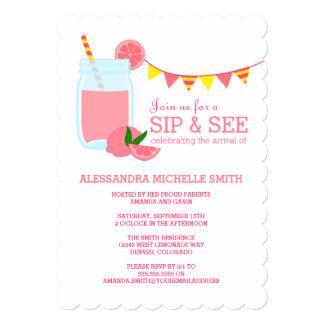 Pink Lemonade Sip and See Party Card