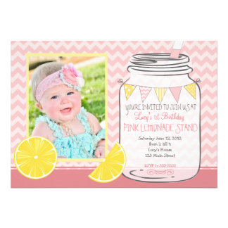 Pink Lemonade Stand first Birthday Invitation