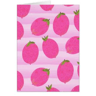 Pink Lemons Summer Fruit Bright Birthday Party Card
