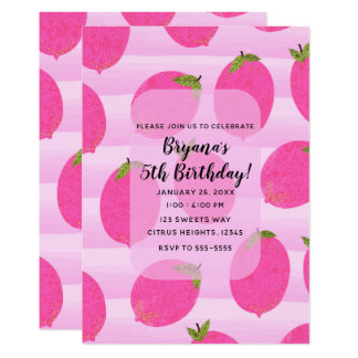 Pink Lemons Summer Fruit Bright Birthday Party Card