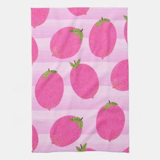 Pink Lemons Summer Fruit Watercolor Fun Bright Kitchen Towel