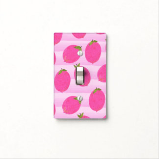 Pink Lemons Summer Fruit Watercolor Fun Bright Light Switch Cover