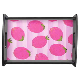 Pink Lemons Summer Fruit Watercolor Fun Bright Serving Tray