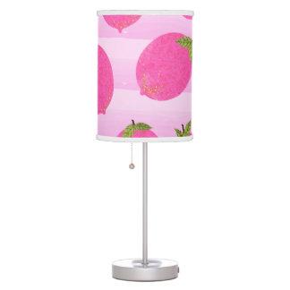 Pink Lemons Summer Fruit Watercolor Fun Bright Table Lamp