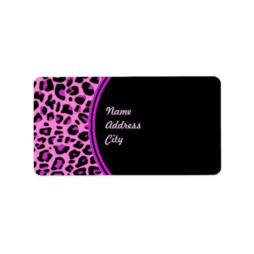 Pink Leopard Address Label
