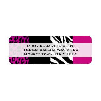 Pink Leopard and Zebra Animal Print Return Address