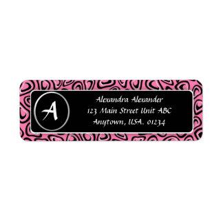 Pink Leopard Animal Print Monogrammed Return Address Label
