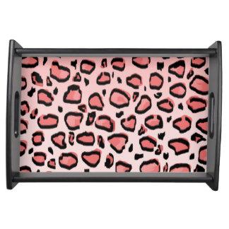 Pink Leopard Animal Print Pattern Food Trays