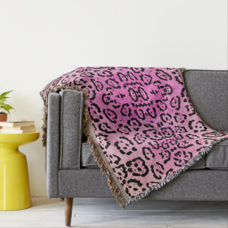 Pink Leopard Cat Animal Oil Paint Effect Throw Blanket