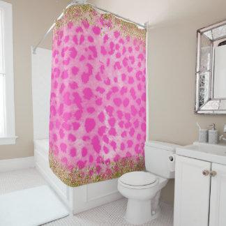 Pink Leopard Cheetah Print Gold Glitter Modern