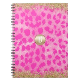 Pink Leopard Cheetah Print Gold Glitter Modern Notebooks
