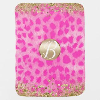 Pink Leopard Cheetah Print Gold Glitter Monogram Baby Blanket